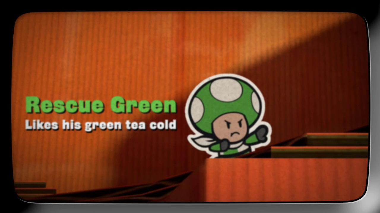 『ペーパーマリオ カラースプラッシュ』のキノピオ達レスキュー隊紹介映像「Rescue V」、エピソード5はグリーンが登場、他カラー以上におとぼけ