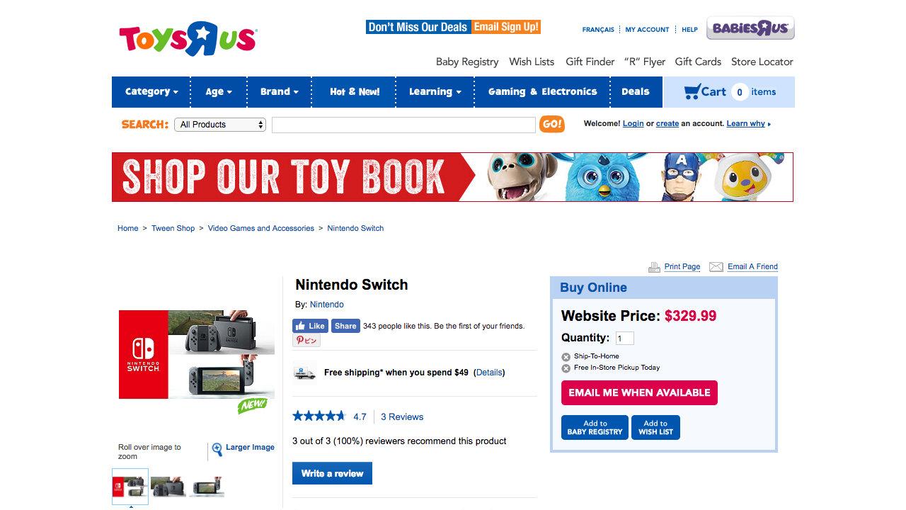 トイザらスカナダ、「Nintendo Switch」の価格を329.99ドルと表記。UKでは199.99ポンドとする小売も
