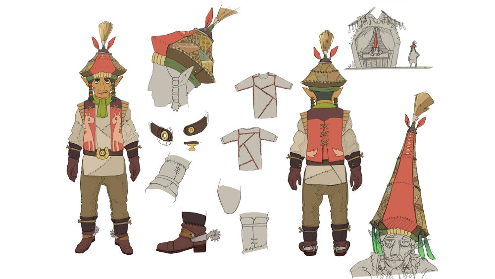 『ゼルダの伝説 BotW』、ラインバックに似ているようにも見えるハイラルのワーカーのコンセプトアート