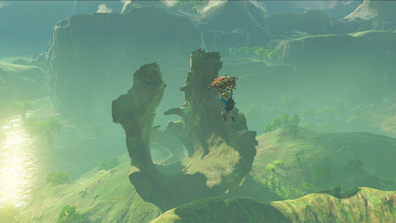 『ゼルダの伝説 BotW』、パラセールで滑空するリンクと空洞化した巨大な倒木