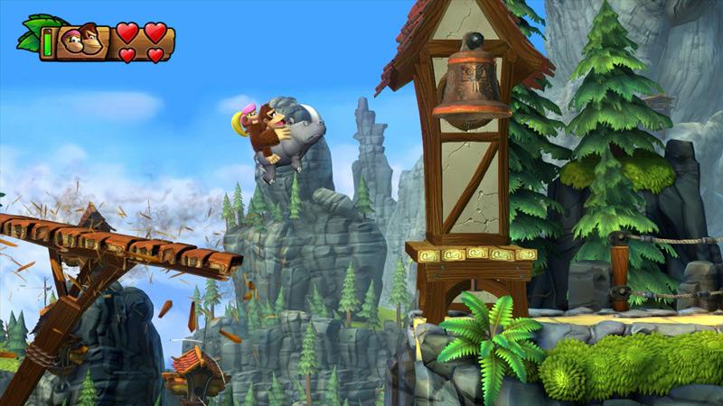 Wii U『ドンキーコング トロピカルフリーズ』は720p/60fpsで描画。アニマルフレンド「ランビ」が今作も登場