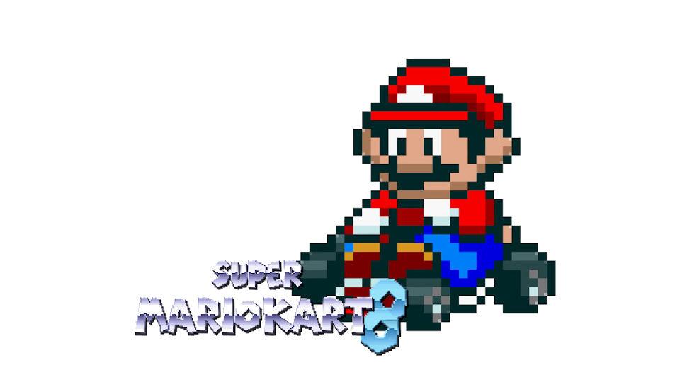 「もしも『マリオカート8』がSFCで制作されていたら」を再現した『スーパーマリオカート』風デメイク映像