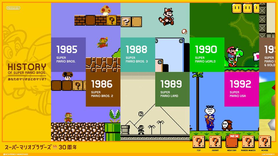 """スーパーマリオ30年の歴史を振り返る、""""History of Super Mario Bros.""""が任天堂公式サイトで公開"""