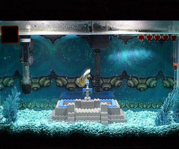 『ゼルダの伝説 神々のトライフォース』の名シーンを水槽内で表現した水景アート