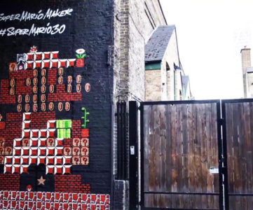 ドットマリオが壁画に、「スーパーマリオ30周年記念グラフィティ」in ロンドン