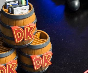 任天堂公式ライセンス、『ドンキーコング』の樽型3DS/DSゲームカード収納ボックス「Donkey Kong Barrel Game Card Storage」