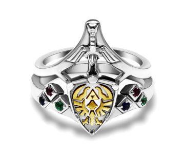 2つ合わせて1つの指輪に、『ゼルダの伝説』ハイリアの盾&マスターソードデザインのブライダルリング