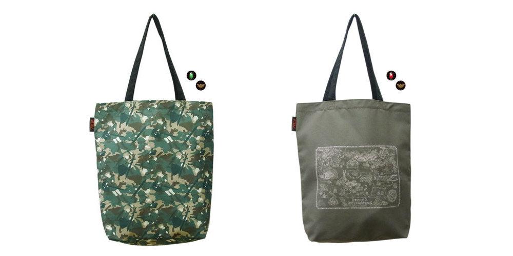 A4サイズを収納可能な「ゼルダの伝説 トートバッグ(缶バッジつき)」、迷彩柄とハイラルマップの2種類