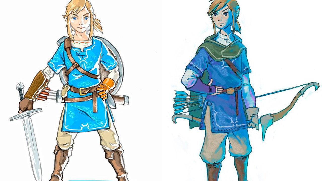 任天堂『ゼルダの伝説 BotW』のリンクのコンセプトアート2点、初期はトゥーンリンクのような顔立ちも