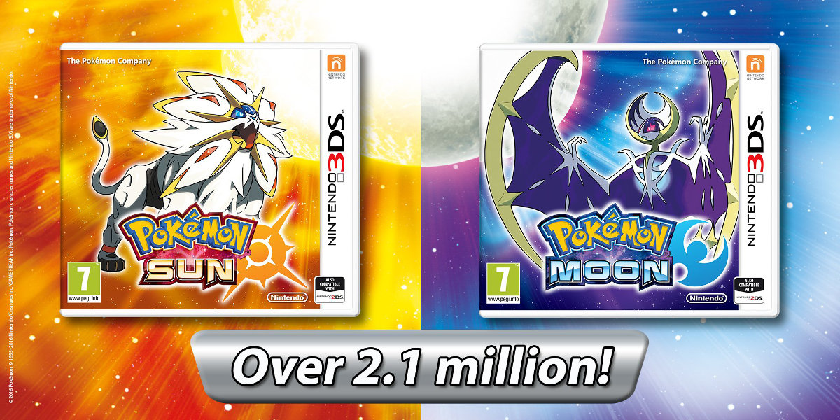 『ポケモン サン・ムーン』の欧州セールスが210万本を突破、発売12日で達成