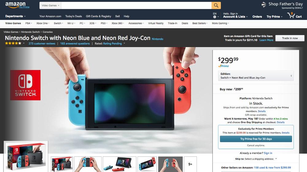 品薄が続く Nintendo Switch、米Amazonでは「プライム会員限定」商品に