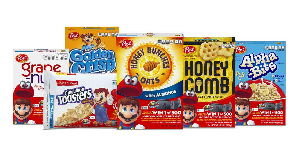 米任天堂、シリアル食品会社とコラボ。Nintendo Switch と『スーパーマリオオデッセイ』が500名に当たる