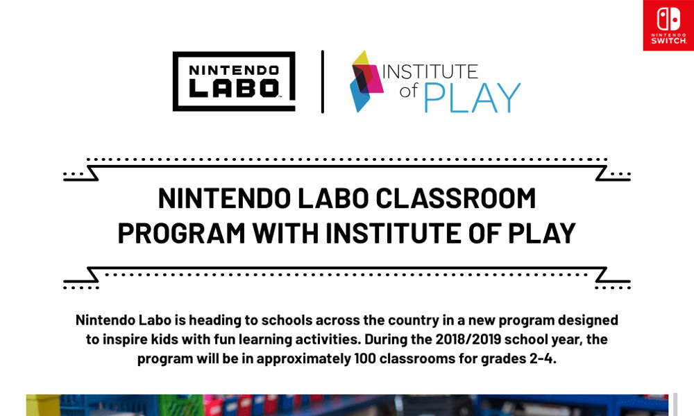 『Nintendo Labo』が小学校教育に導入へ、米任天堂がInstitute of Playと提携