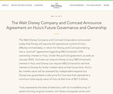 米ディズニーがHuluを完全子会社に、動画配信事業を強化