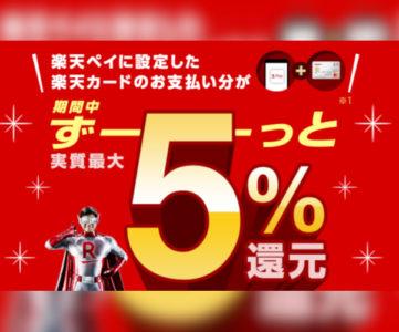 楽天ペイ、支払い元を楽天カードに設定すると5%還元キャンペーン(第1弾は〜7/1まで)