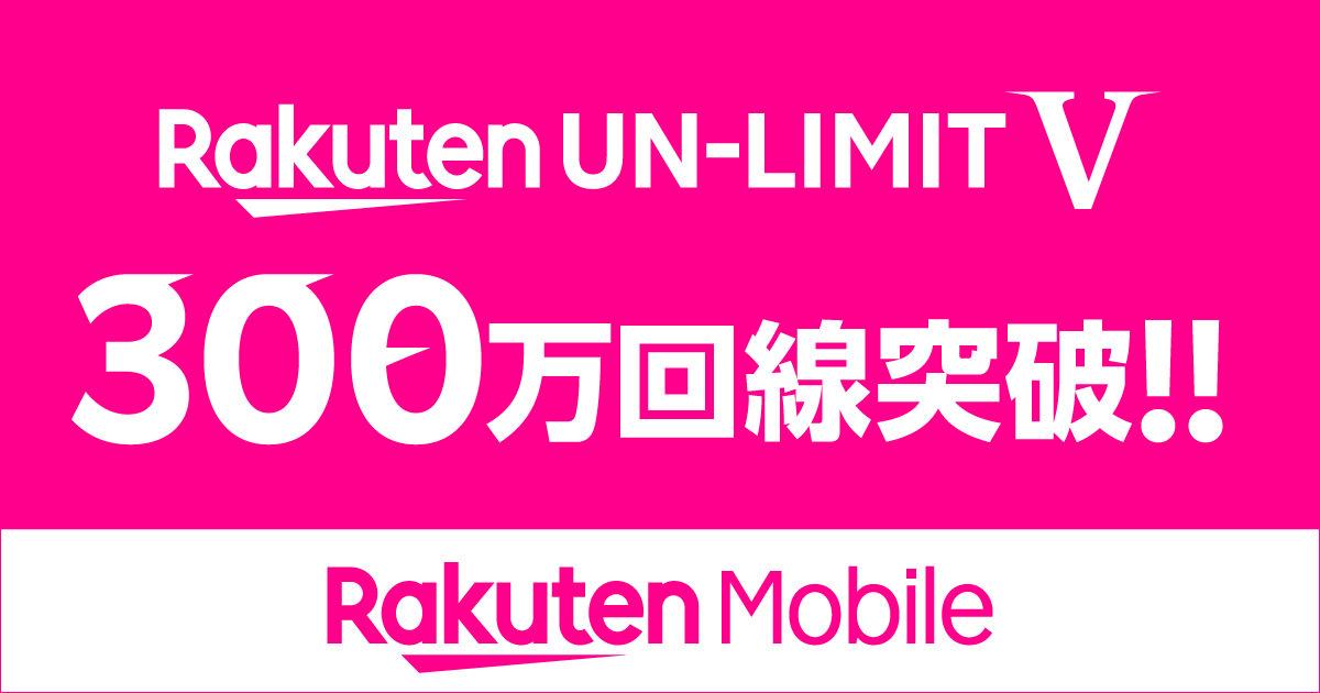 【楽天モバイル】ついに累計300万回線突破、1GB未満「0円」の新料金プラン発表以降申込みが急増