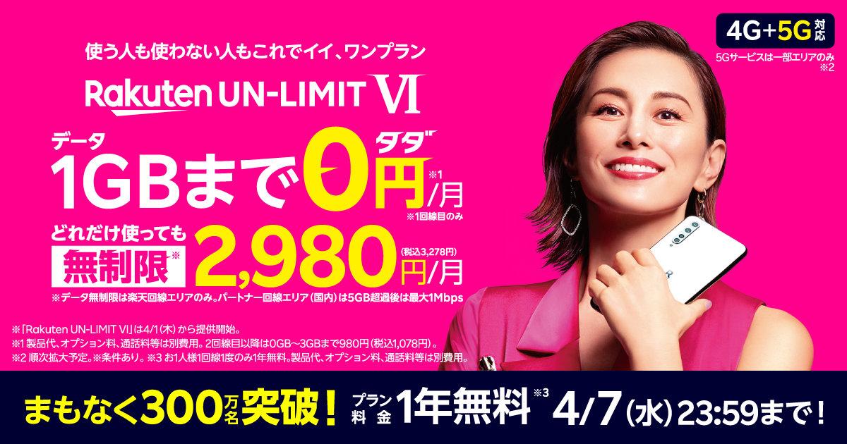 【楽天モバイル】「Rakuten UN-LIMIT プラン料金1年無料キャンペーン」まもなく300万人達成、受付が4月7日で終了へ