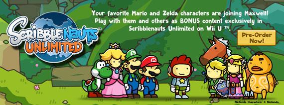 Wii U『Scribblenauts Unlimited』に、任天堂からマリオやゼルダの伝説のキャラクターが参加。各キャラモチーフのアイテムも